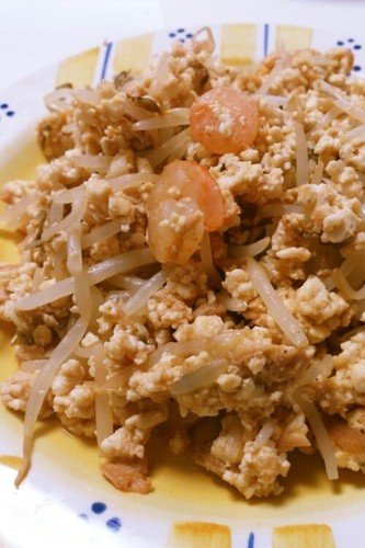 Stir Fried Bean Sprouts & Iri-Dofu Scrambled Tofu
