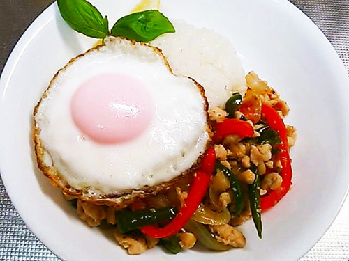 Healthy Phad Ga Prao with Chicken Breast