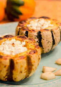Mini Kabocha Squash Stuffed with Pear and Goat Cheese