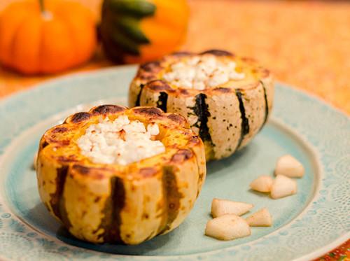 Mini Kabocha Squash Stuffed with Pear and Goat Cheese