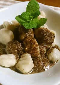 "Taro Root ""Hittsumi"" Gnocchi with Sesame Sauce"