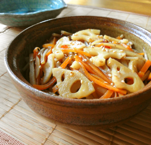 Burdock Root and Lotus Root Kimpira Stir-fry