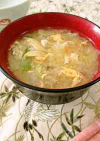 Chinese Cabbage & Egg Miso Soup With Bonito Flakes