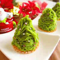 Matcha and Sweet Potato Mont Blanc Christmas Trees