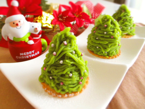 Matcha and Sweet Potato Mont Blanc Christmas Trees