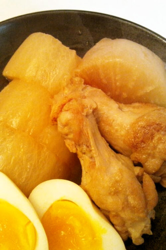 Frozen Daikon Radish and Chicken Wings Simmered In Mentsuyu