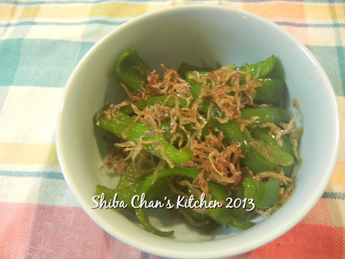 Stir-Fried Chirimen Jako and Green Bell Peppers