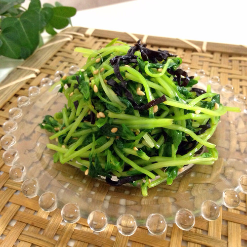 Pea Shoot and Shio-konbu Namul (Korean-style Salad)