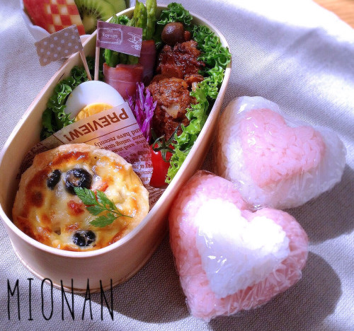 Adult Character Bento Double Heart Bento For Valentine's Day