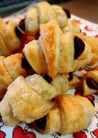 Mini Chocolate Croissants with Frozen Puff Pastry