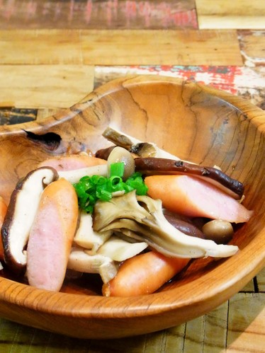Steamed Wiener Sausages and Mushrooms