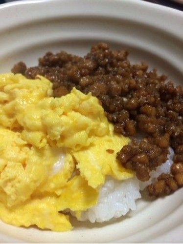Two-Colored Fluffy Scrambled Egg and Tofu Soboro Rice Bowl