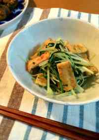 A Quick Side Dish! Stewed Fried Tofu and Mizuna