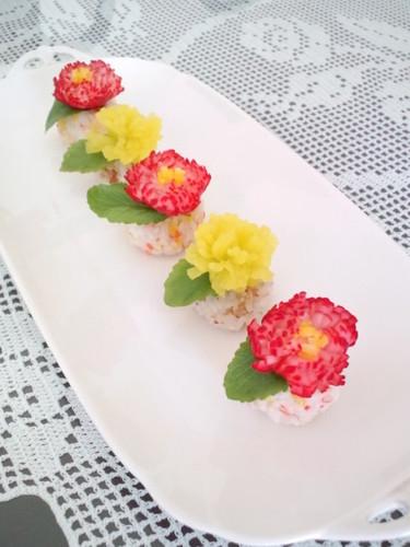 Radish Chrysanthemum Sushi Balls for Doll Festival or Mother's Day