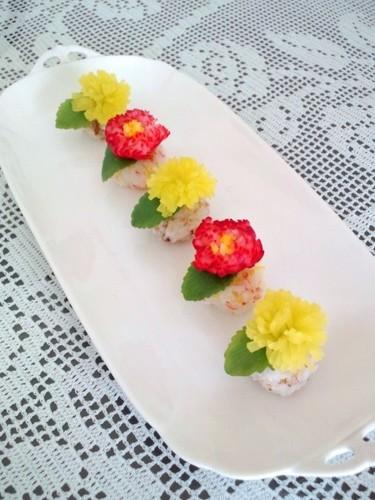 Radish Dandelion Sushi Balls For Doll Festival or Mother's Day