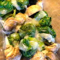 Brussels Sprouts and Mushrooms with Cheese