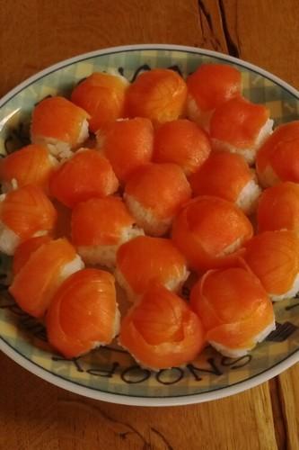 Smoked Salmon Temarizushi with Leftover Rice