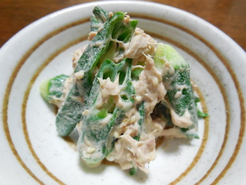 Umeboshi-Flavored Okra with Tuna Mayonnaise Dressing