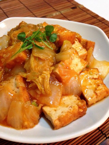 """Shrimp"" in Chili Sauce with Atsuage and Chinese Cabbage"