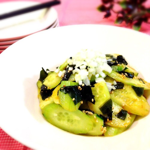 Korean-Style Salad with Peeled Cucumbers and Wakame Seaweed