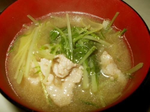 Mizuna and Pork Belly Miso Soup