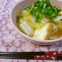 Delicious Simmered Chinese Cabbage and Atsuage with Thickened Sauce