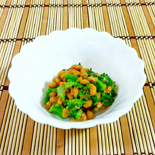 Broccolini & Natto with Bonito Flakes