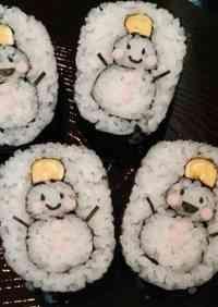 Decorated Sushi Rolls: Snowmen Nori Rolls