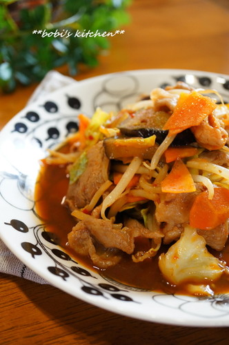 Sweet and Salty Miso Flavored Stir-Fried Meat and Vegetables
