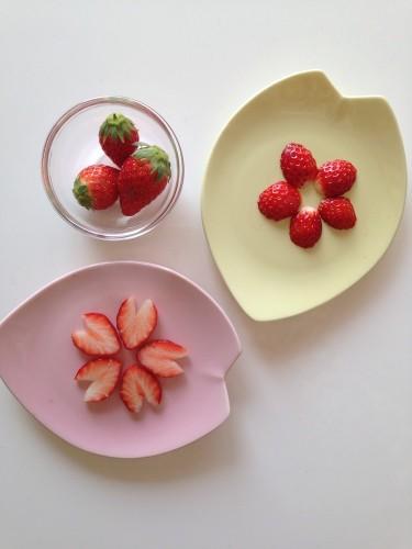 Sakura and Plum Flowers with Just 3 Strawberries