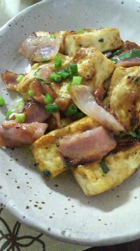 Stir Fried Tofu and Bacon with Butter and Soy Sauce