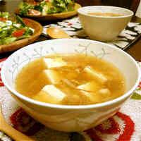 Chicken Soboro and Thickened Tofu Soup