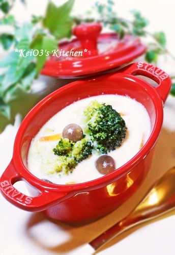 Soy Milk Soup Full of Vegetables and Mushrooms