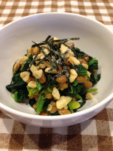 Spinach and Natto with Tempura Crumbs