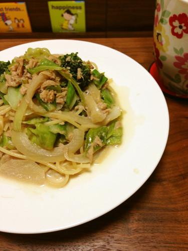 Spring Cabbage & Tuna Soy Milk Pasta
