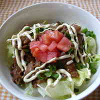 Pork and Salad Rice Bowl