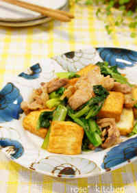 Pork, Greens, Atsuage in Oyster Sauce