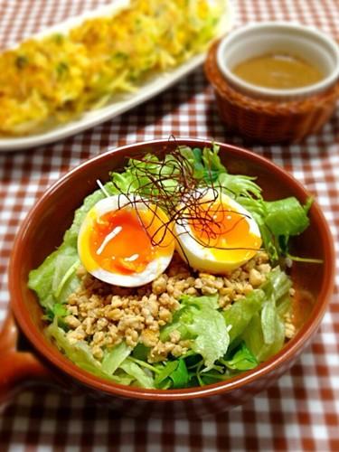 Tofu Soboro and Salad Rice Bowl