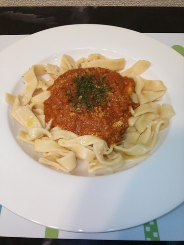 Spicy Meat Sauce on Homemade Fresh Pasta