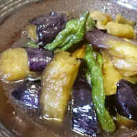 Eggplant and Shishito Peppers Deep-fried and Simmered