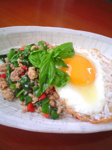 Stir Fried Chicken and Basil over Rice