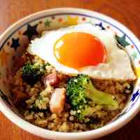 Quinoa in a Bowl with Soft-Set Fried Eggs