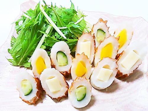 Chikuwa Stuffed with Cheese, Cucumbers, and Takuan
