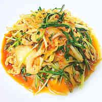 Chicken Skin and Mizuna Kimchi Stir-fry