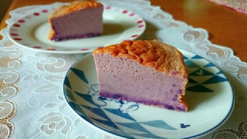 Easy Purple Sweet Potato Cheese Cake with Pancake Mix