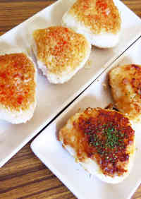 Grilled onigiri, with miso or soy sauce