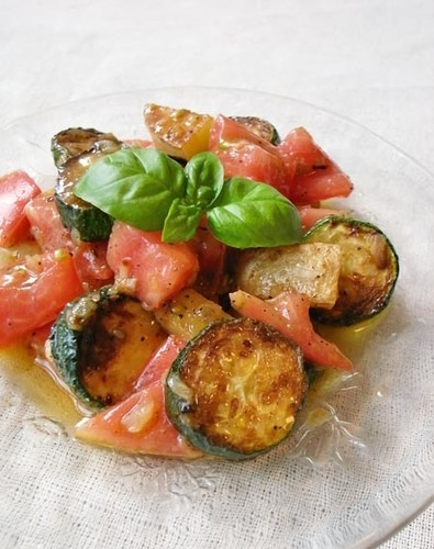 Marinated Grilled Zucchini & Tomato Salad