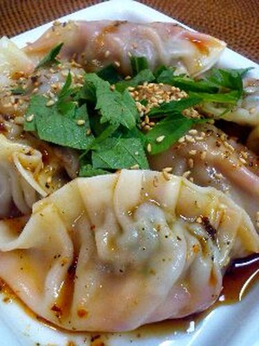 Silky and Soft, Boiled Gyoza Dumplings with Kimchi