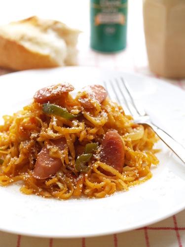 Spaghetti Napolitan with Dried Daikon Radish Strips