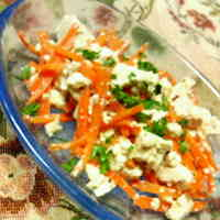 Tofu and Carrot Salad with Mentsuyu